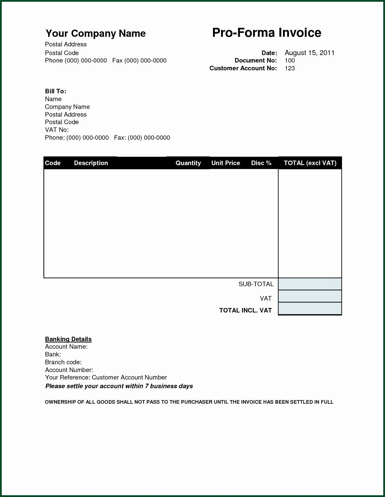 Simple Proforma Invoice Template Pdf