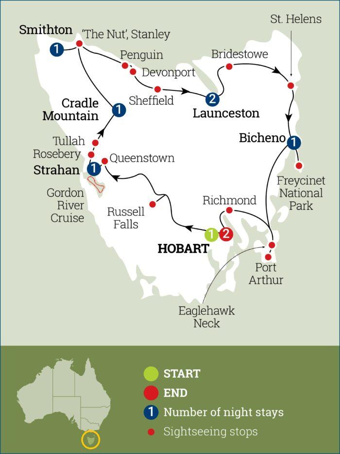 Tasmania Sights Map