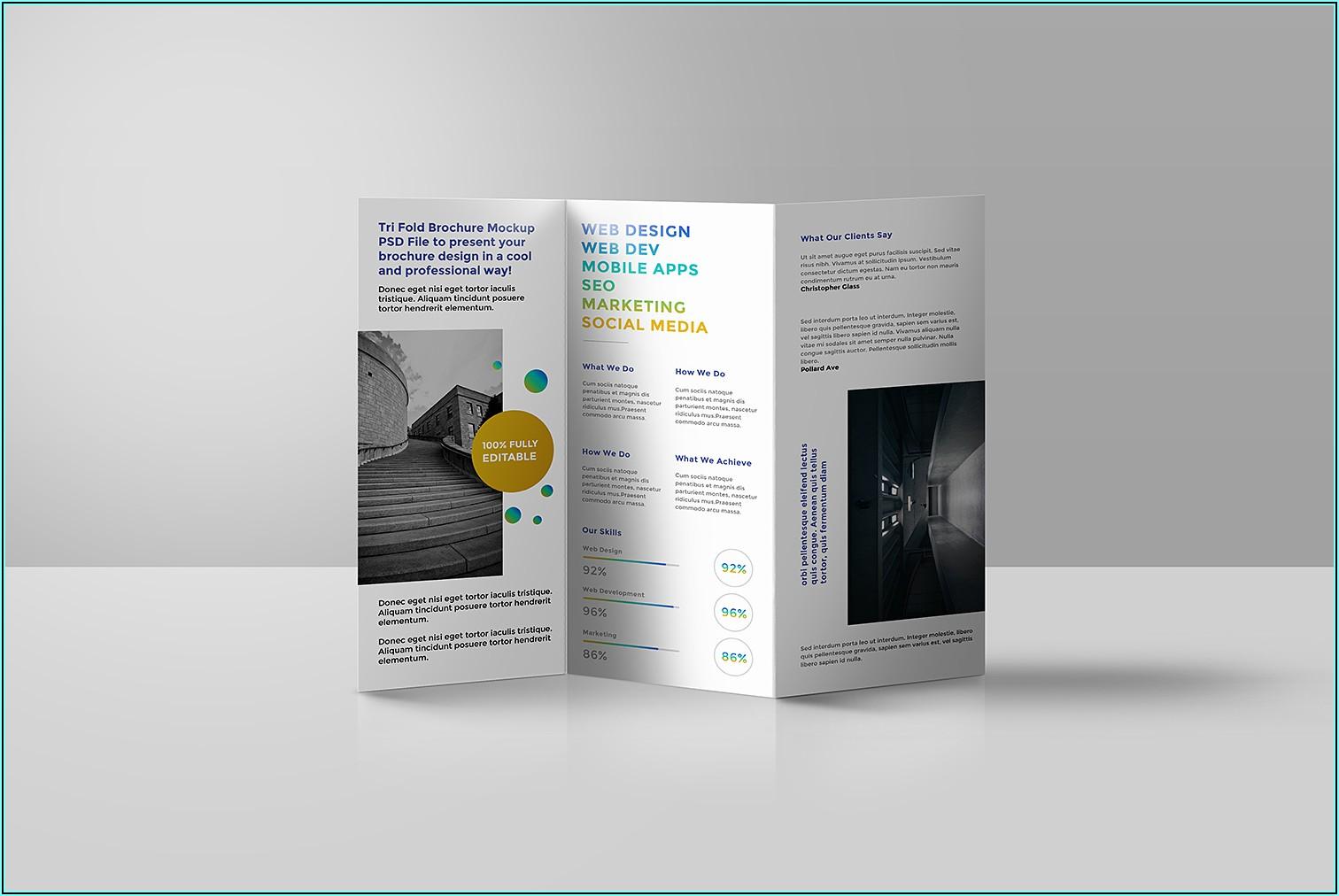 Tri Fold Brochure Mockup Free Download
