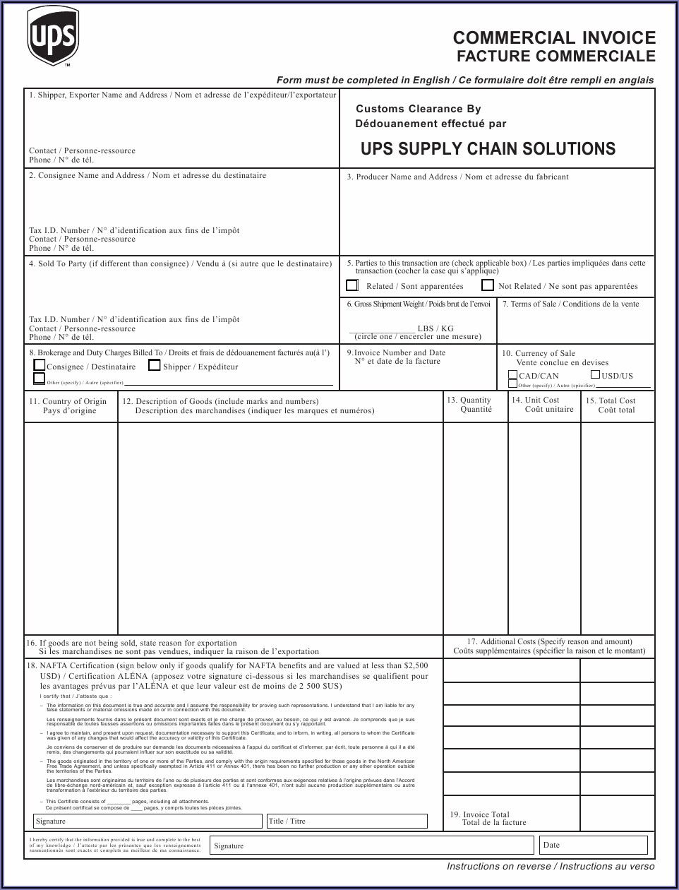 Ups Commercial Invoice Fillable Pdf