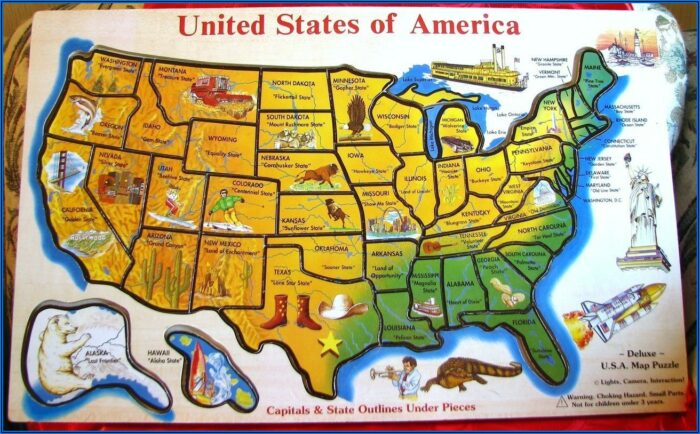 Us States And Capitals Map Puzzle