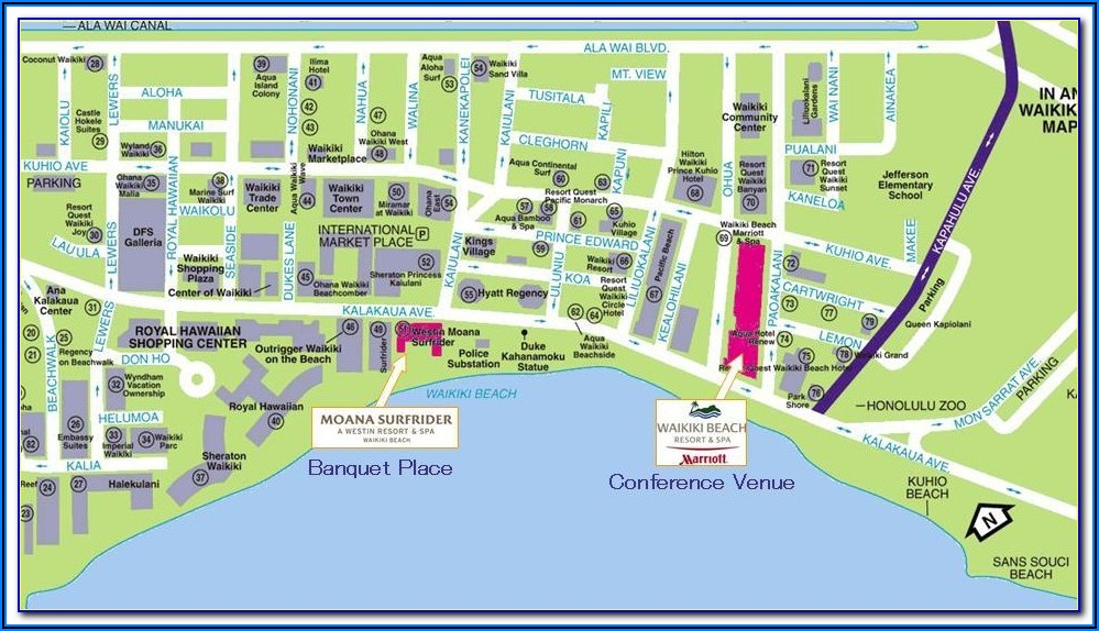Waikiki Hotels Map Honolulu