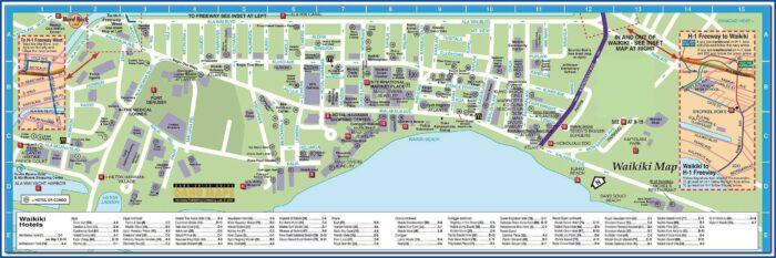 Waikiki Hotels Map On The Beach