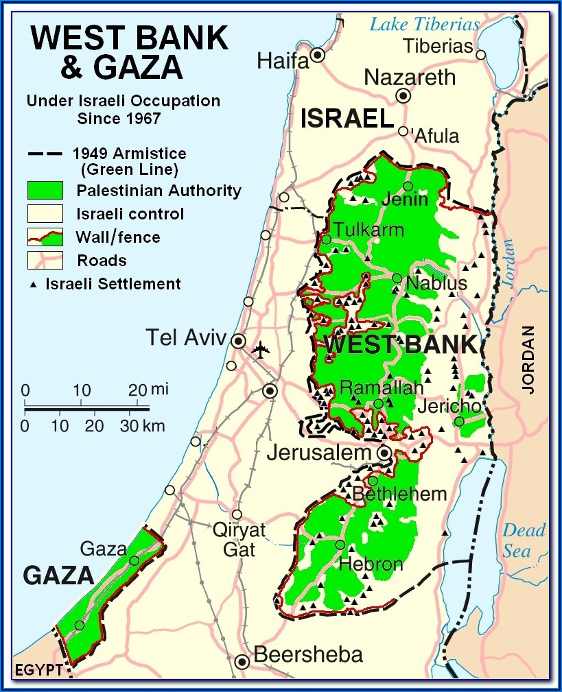 Wall Map Of Israel