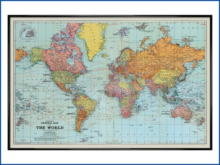 World Map Framed Poster