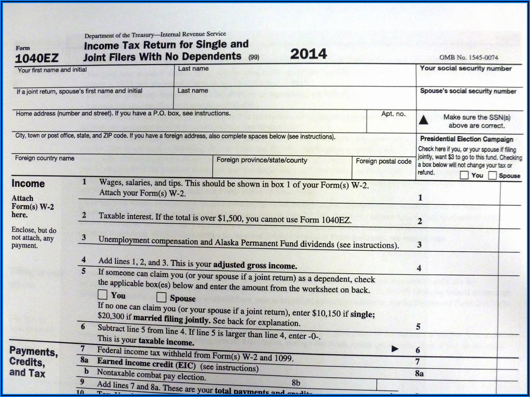 1040ez 2015 Form And Instructions