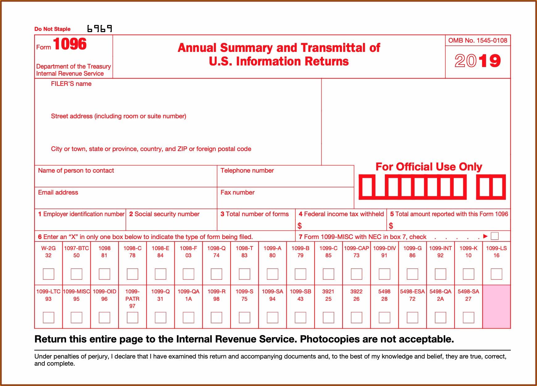 1099 Form Free Printable 2019
