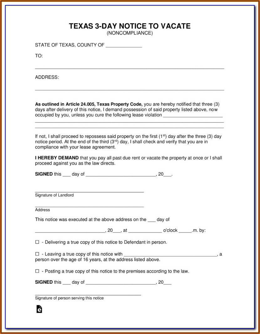 3 Day Notice To Vacate Texas Form