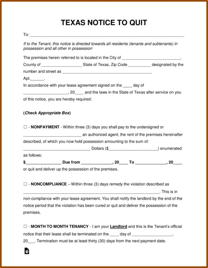 30 Day Notice To Vacate Form Texas