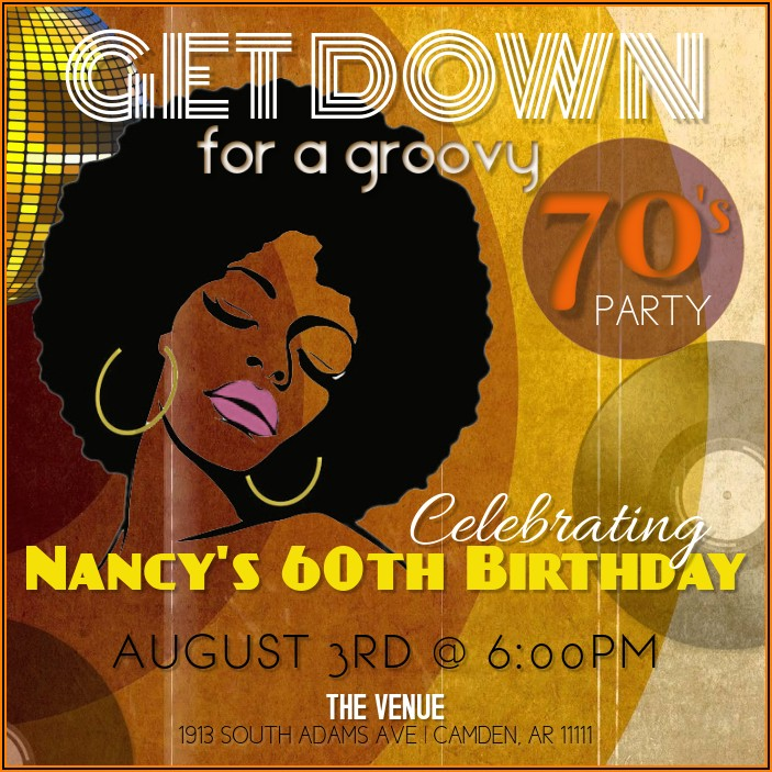 70's Party Invitations Templates Free