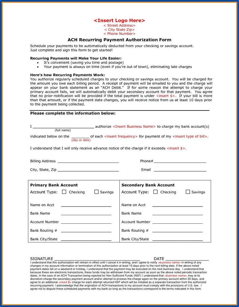 Ach Debit Authorization Form Sample