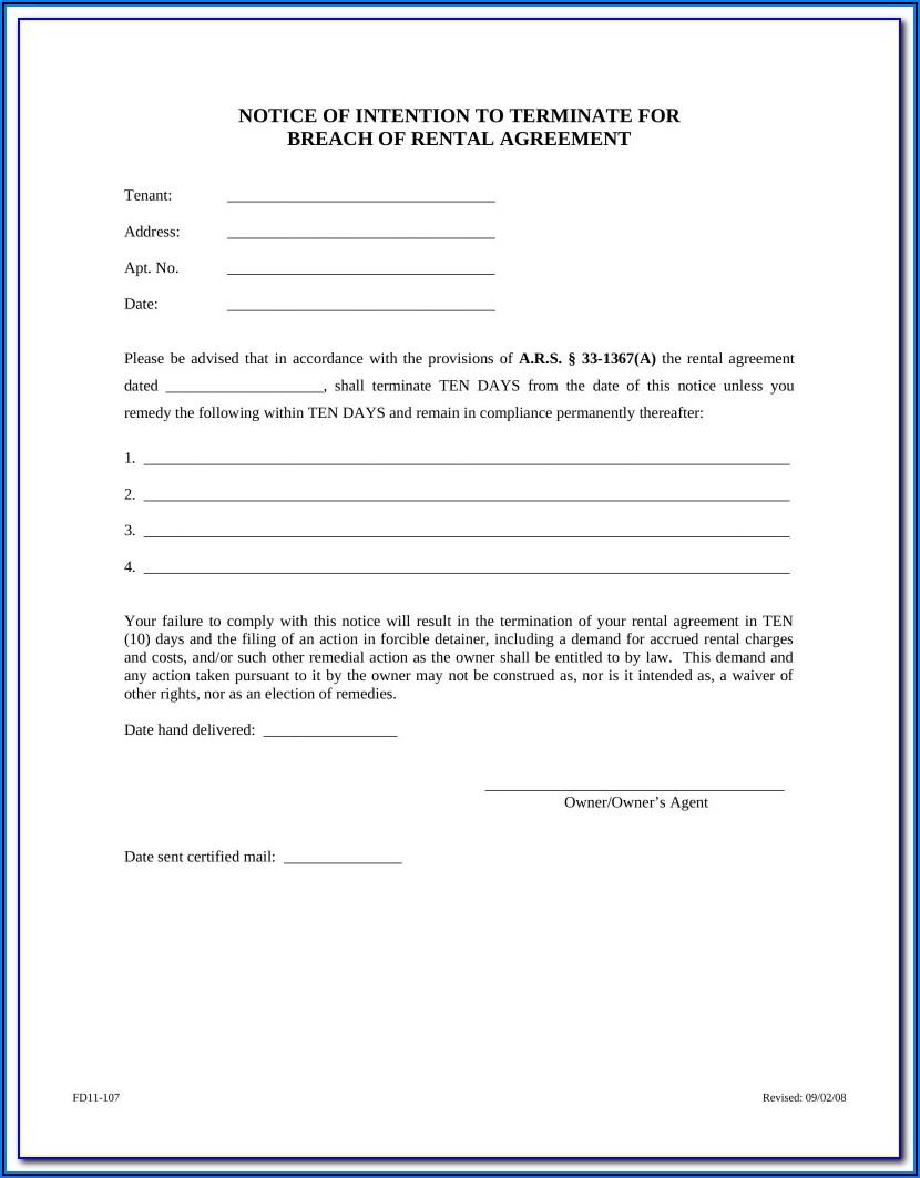 Arizona Notice Of Eviction Form