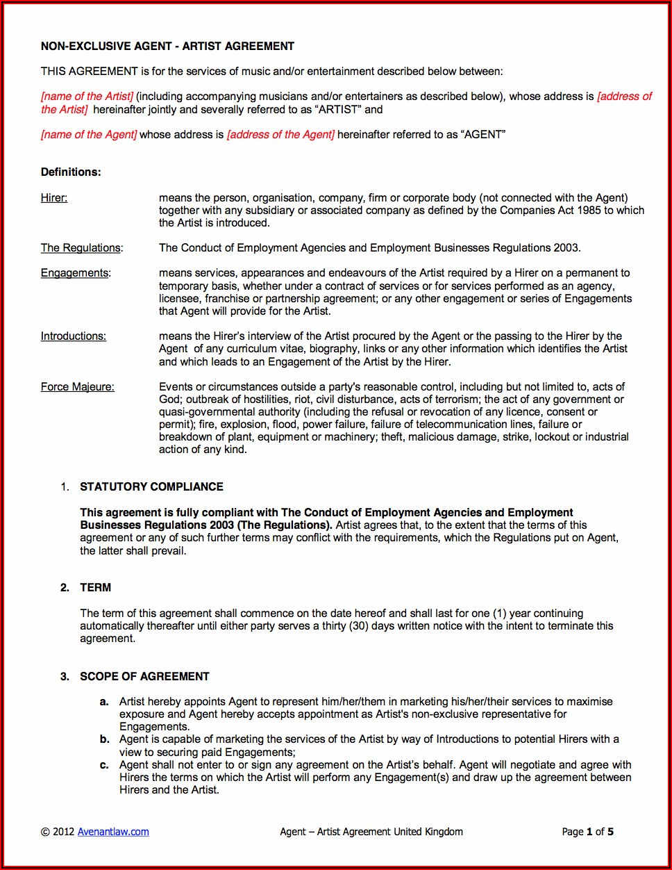 Artist Booking Contract Template Pdf