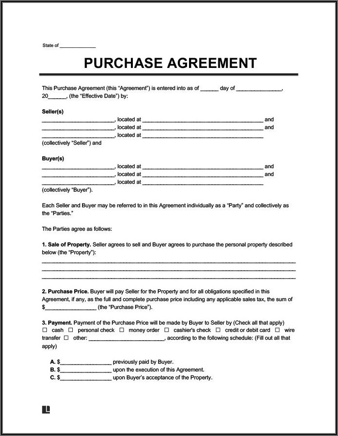 Auto Purchase Agreement Template