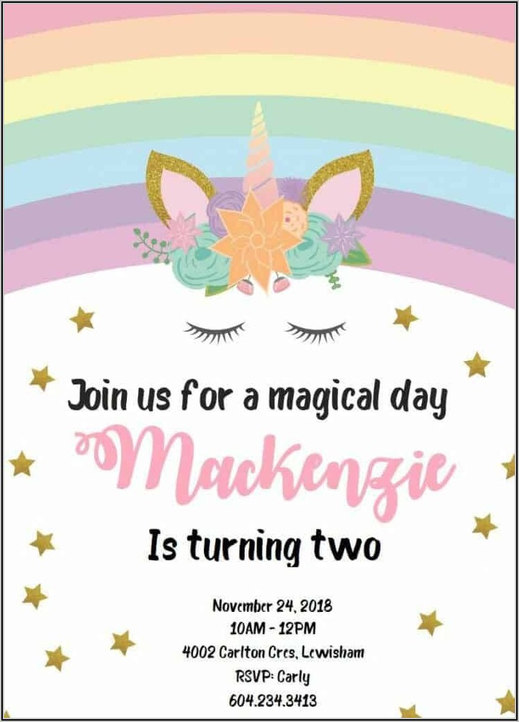 Barbie Unicorn Invitation Template