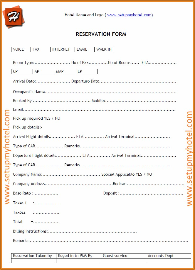 Basic Hotel Booking Form Html Code