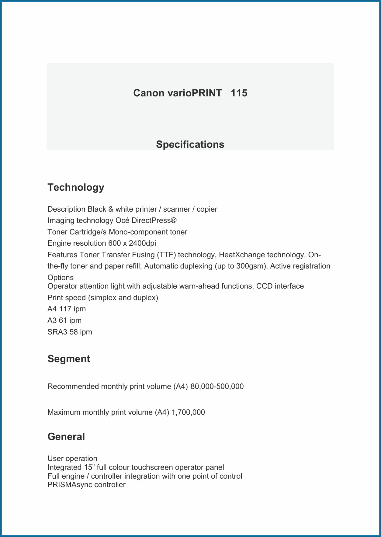 Canon Varioprint 115 Specifications
