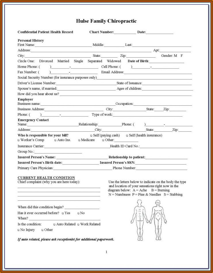 Chiropractic Patient Intake Form Template