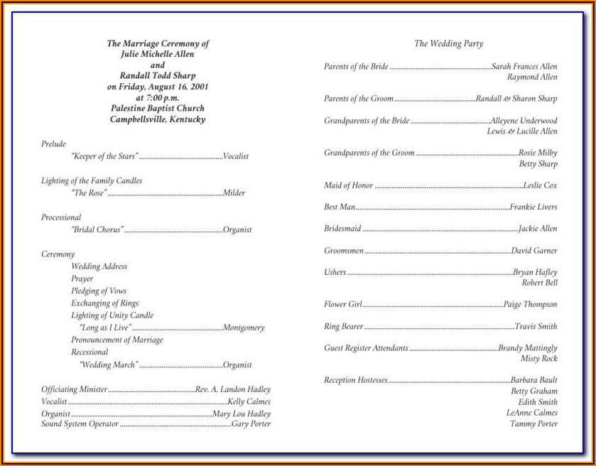 Christian Wedding Ceremony Program Template