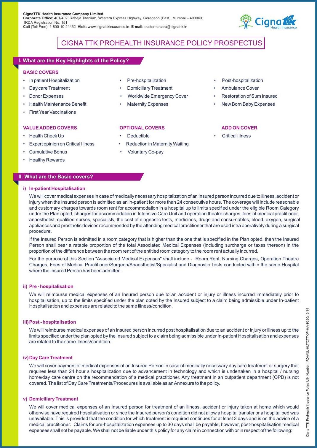 Cigna Prohealth Plus Brochure