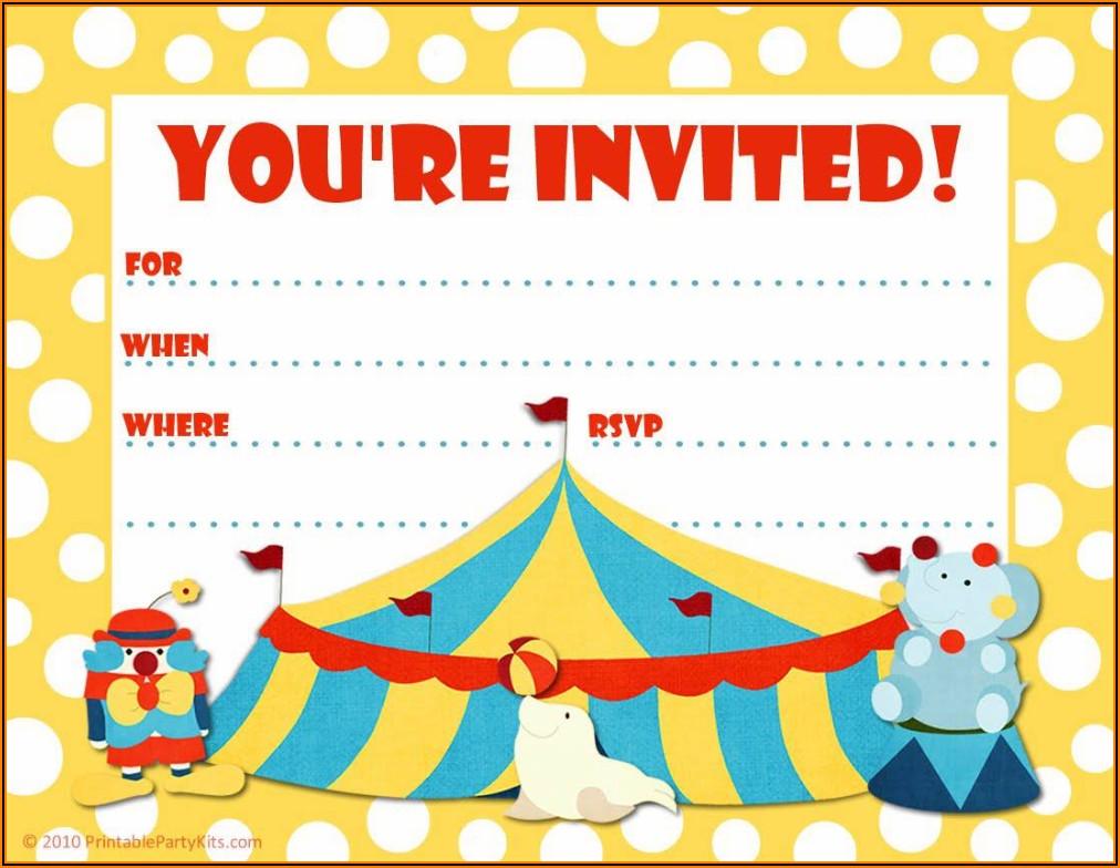 Circus Birthday Party Invitation Templates