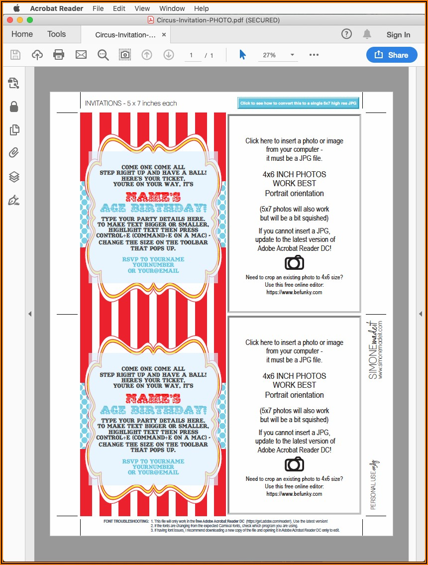 Circus Theme Party Invitation Template