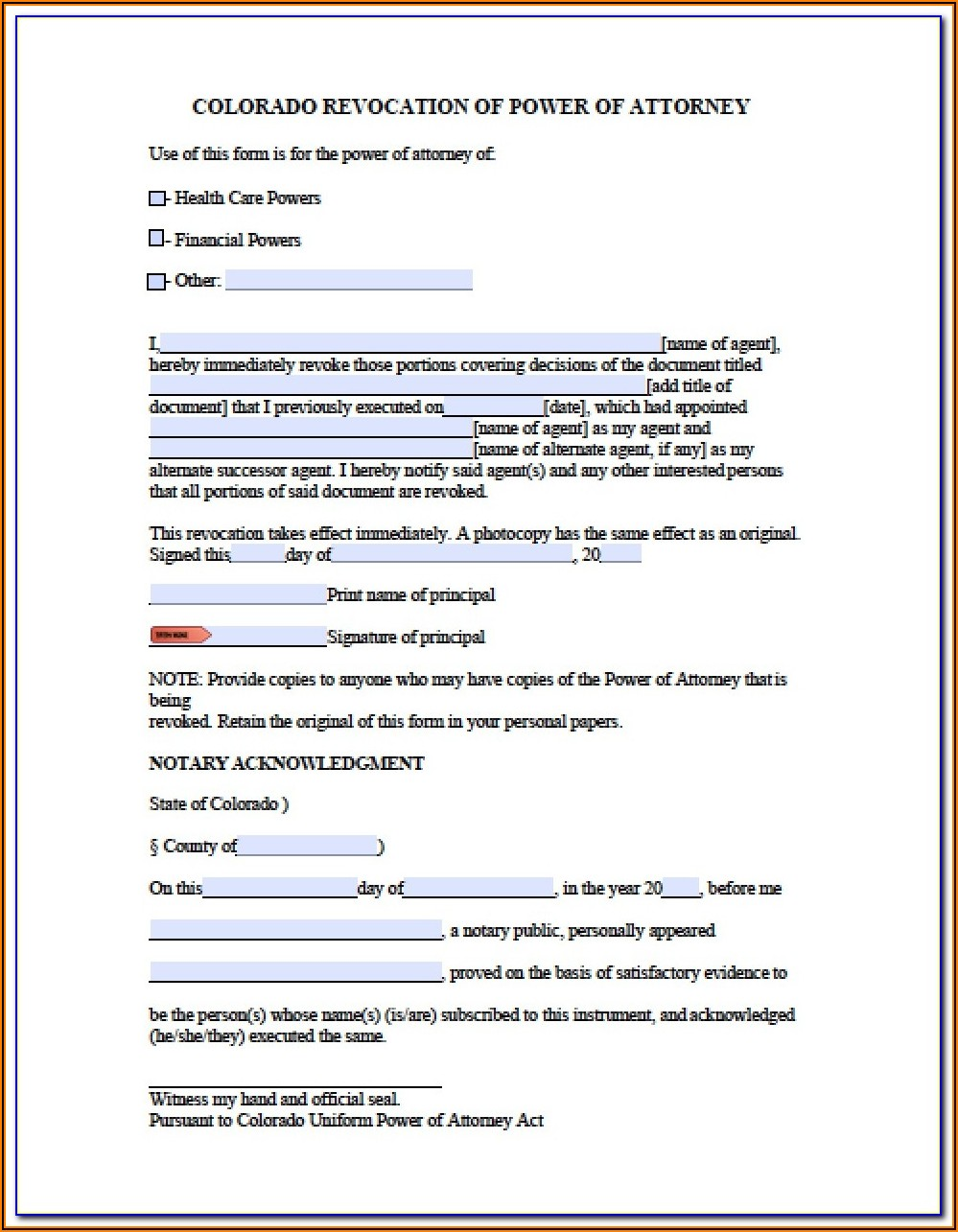 Colorado Durable Power Of Attorney For Health Care Form