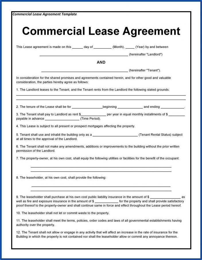 Commercial Lease Sample Free