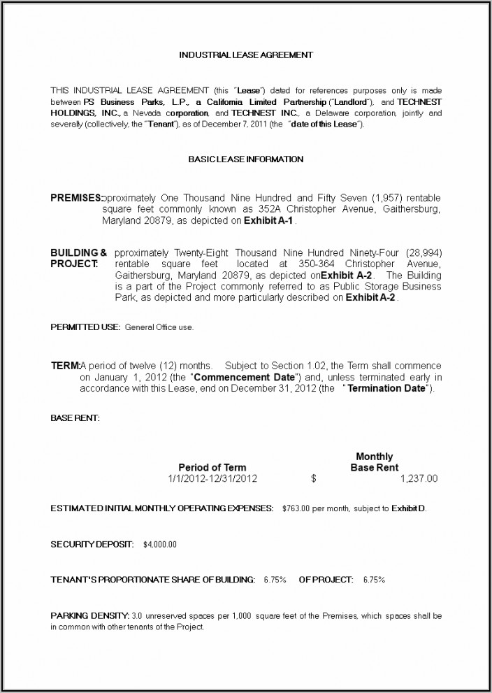 Commercial Property Lease Agreement Sample