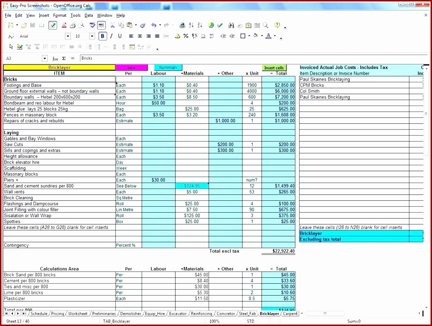 Construction Bid Comparison Template Excel