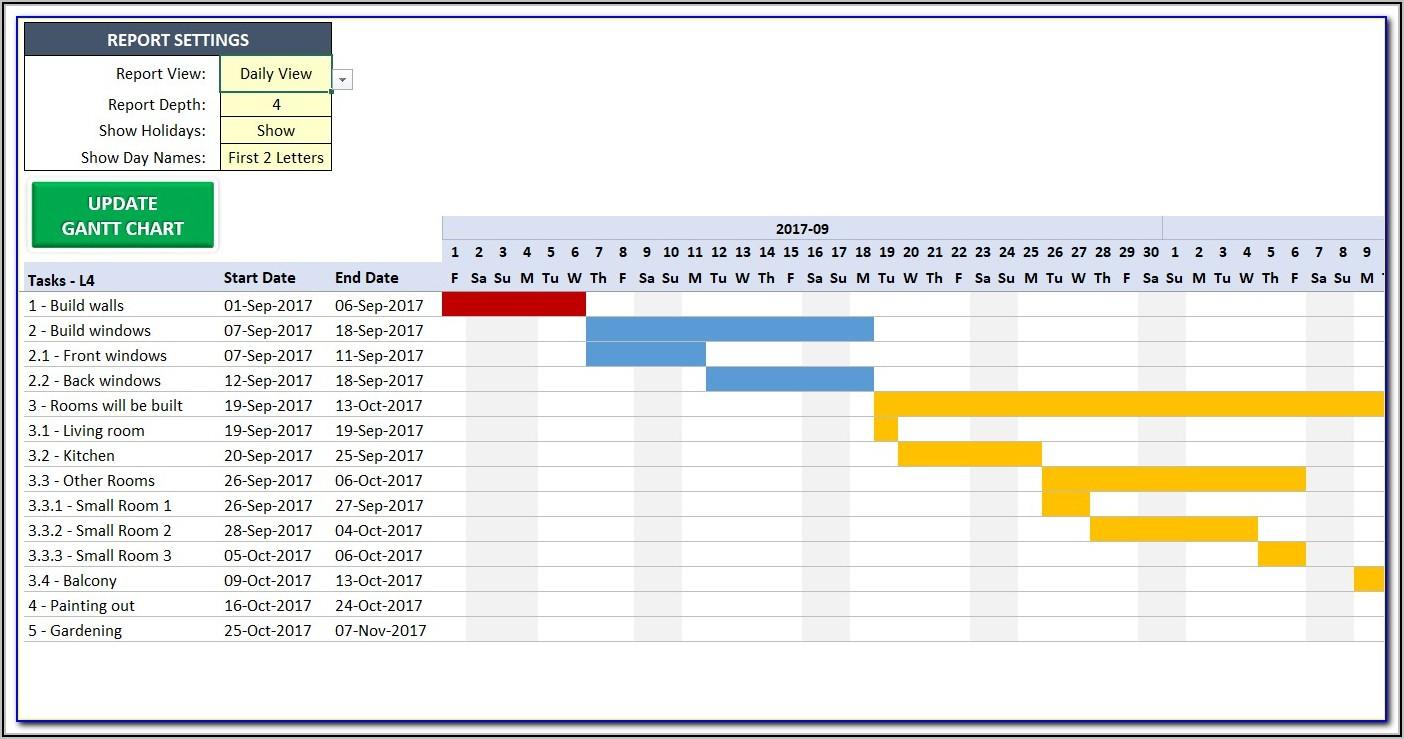 Construction Gantt Chart Excel Template Free