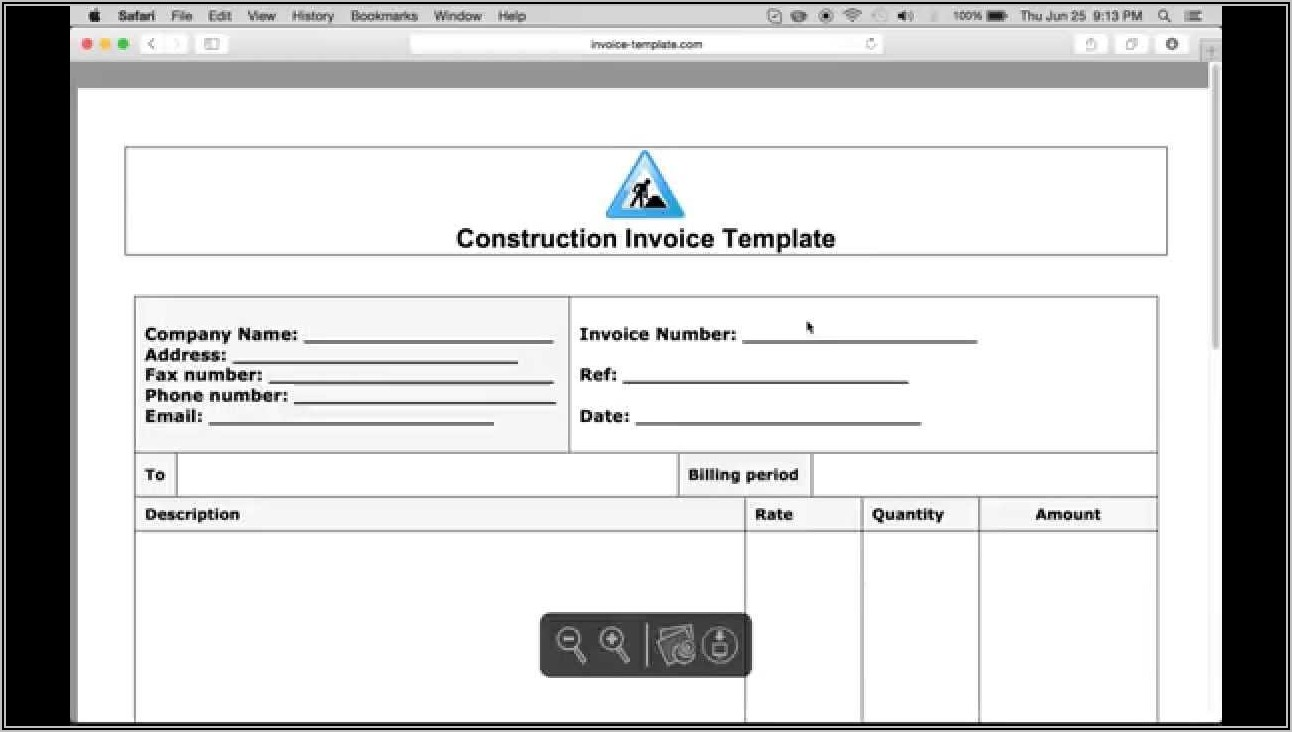 Construction Invoice Template Word