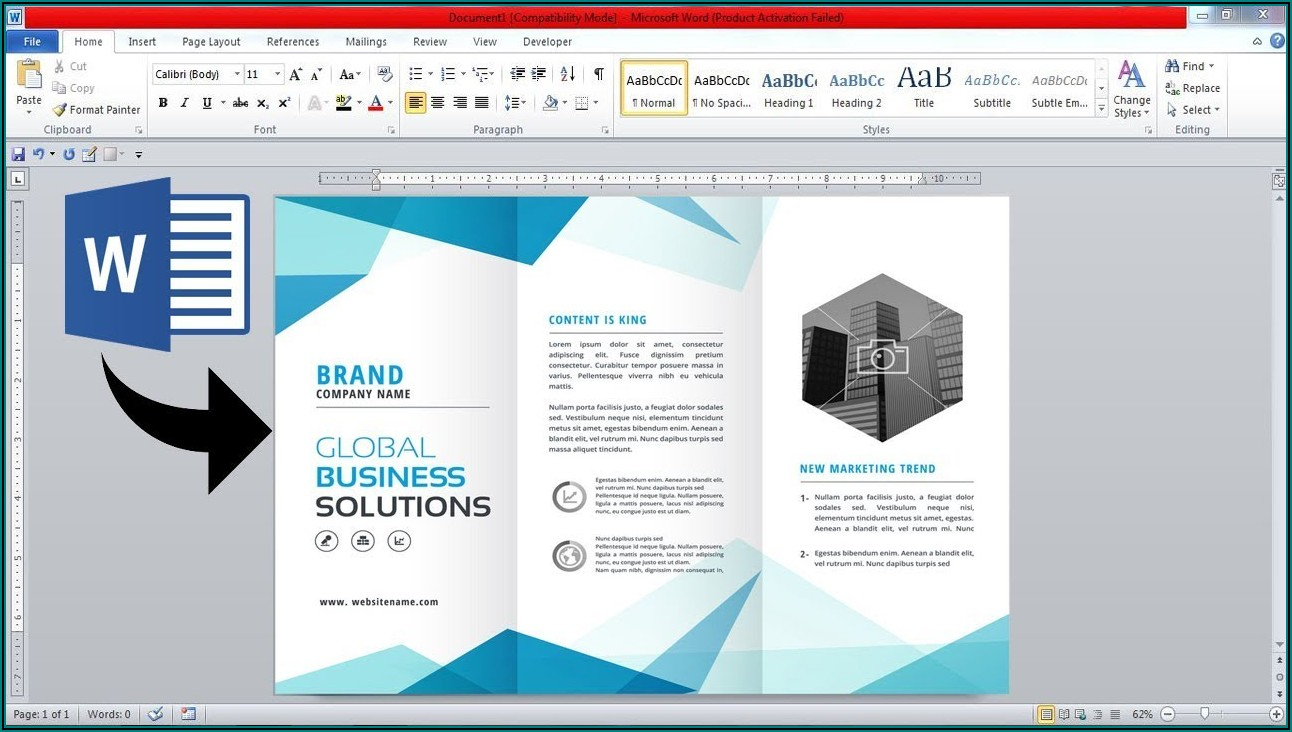 Create Three Fold Brochure Microsoft Word