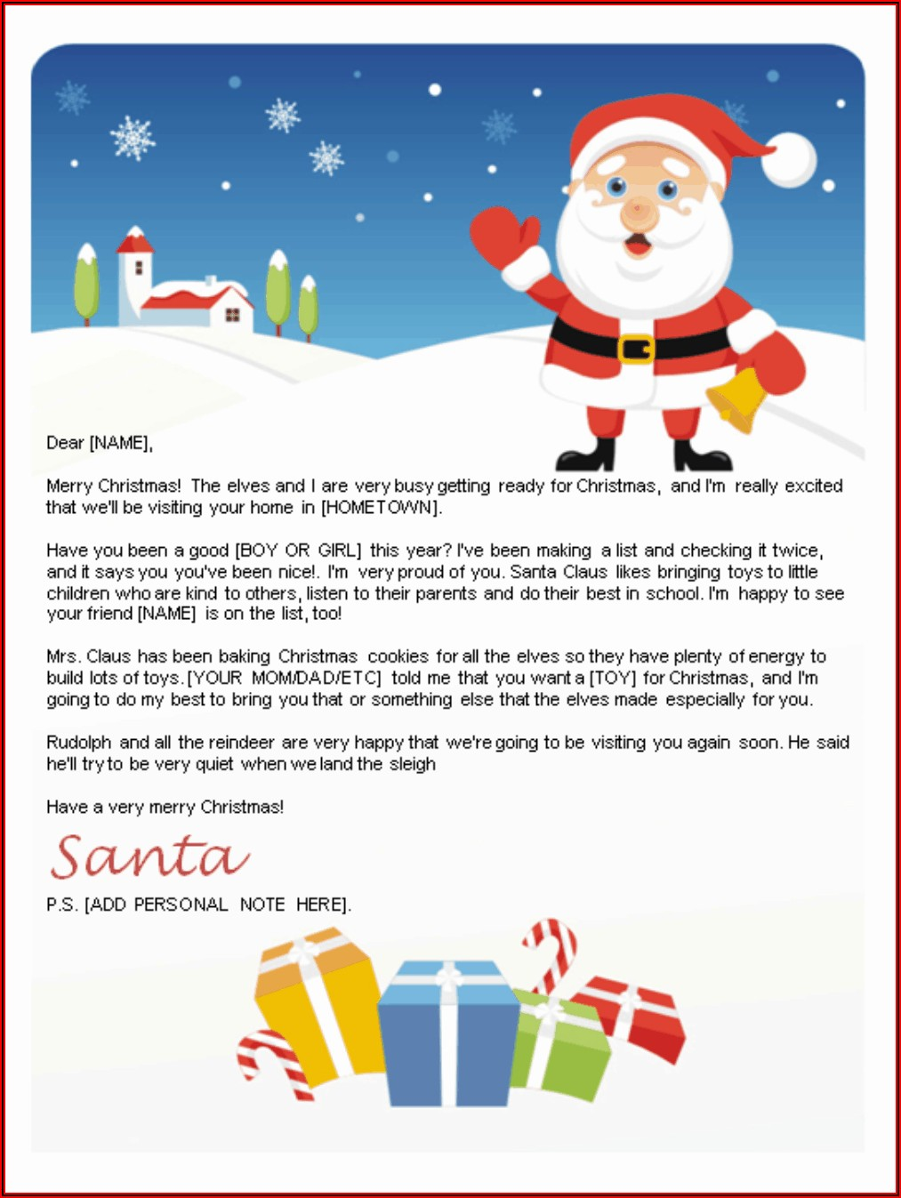 Customizable Free Printable Letter From Santa Template Word