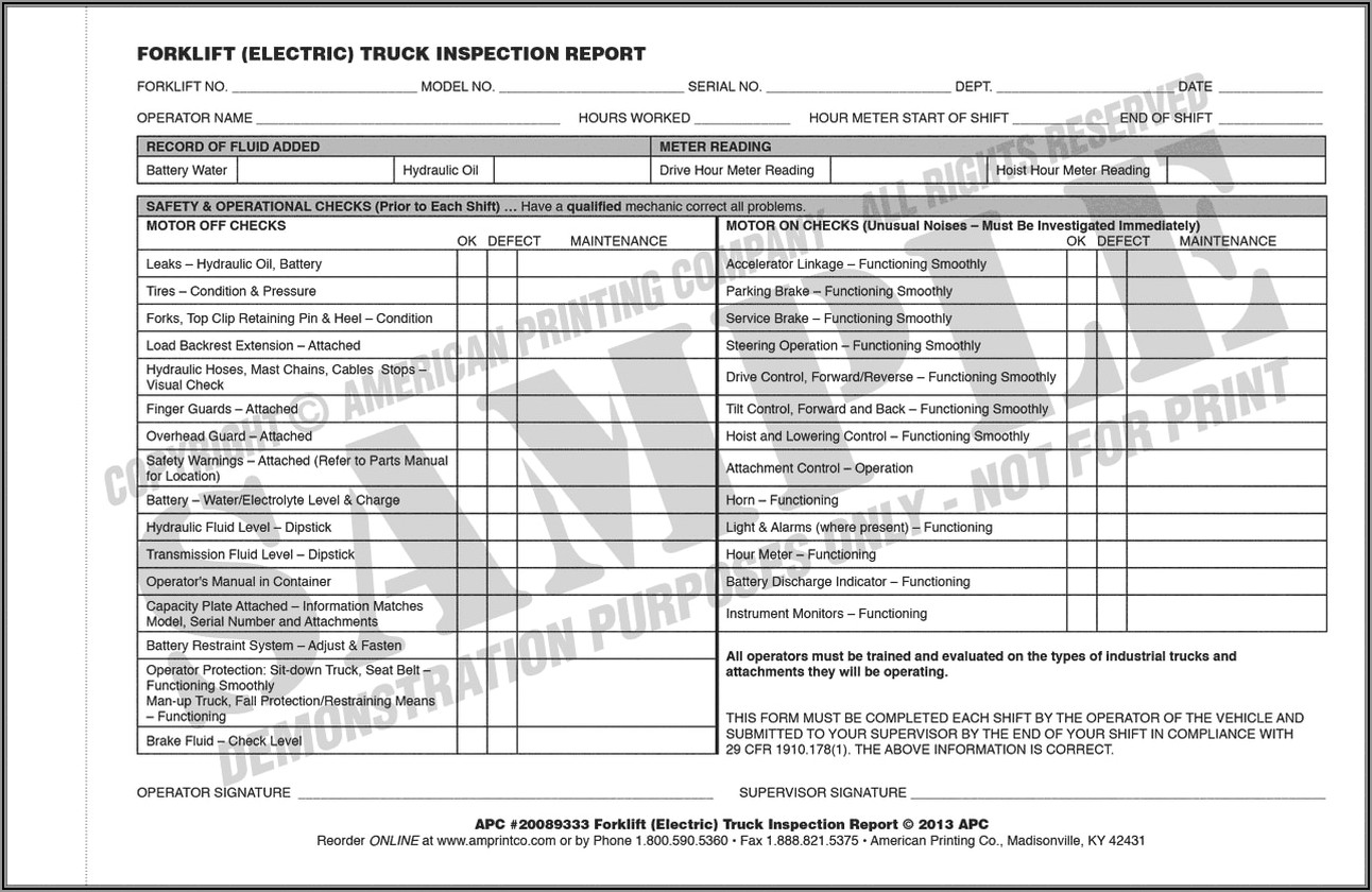 Daily Forklift Safety Checklist Template