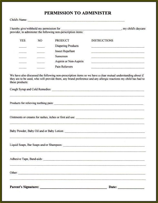 Daycare Enrollment Form Template