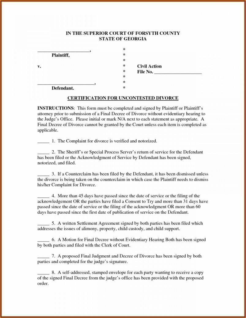 Decree Of Divorce Form Ohio