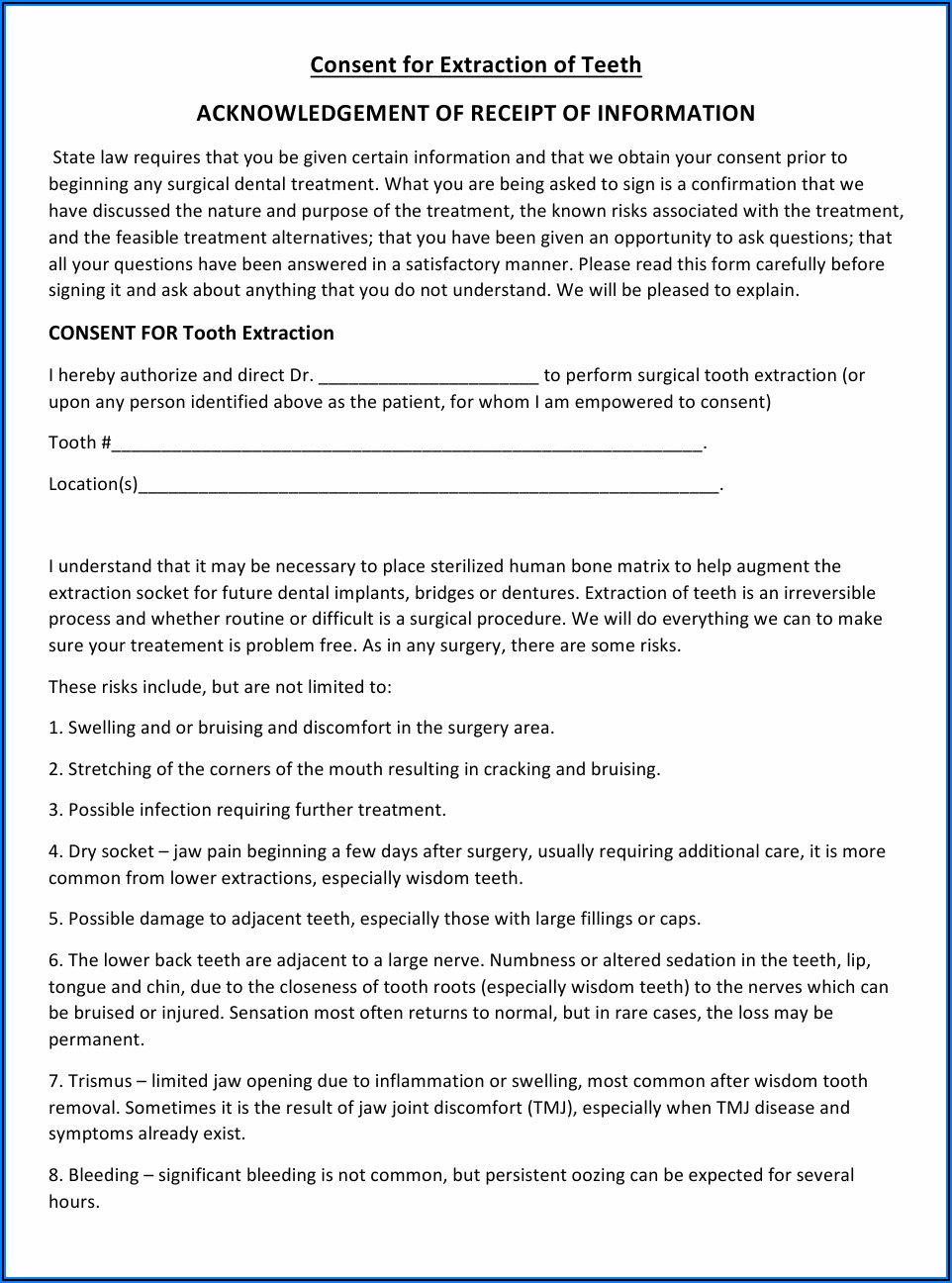 Dental Extraction Consent Form Pdf