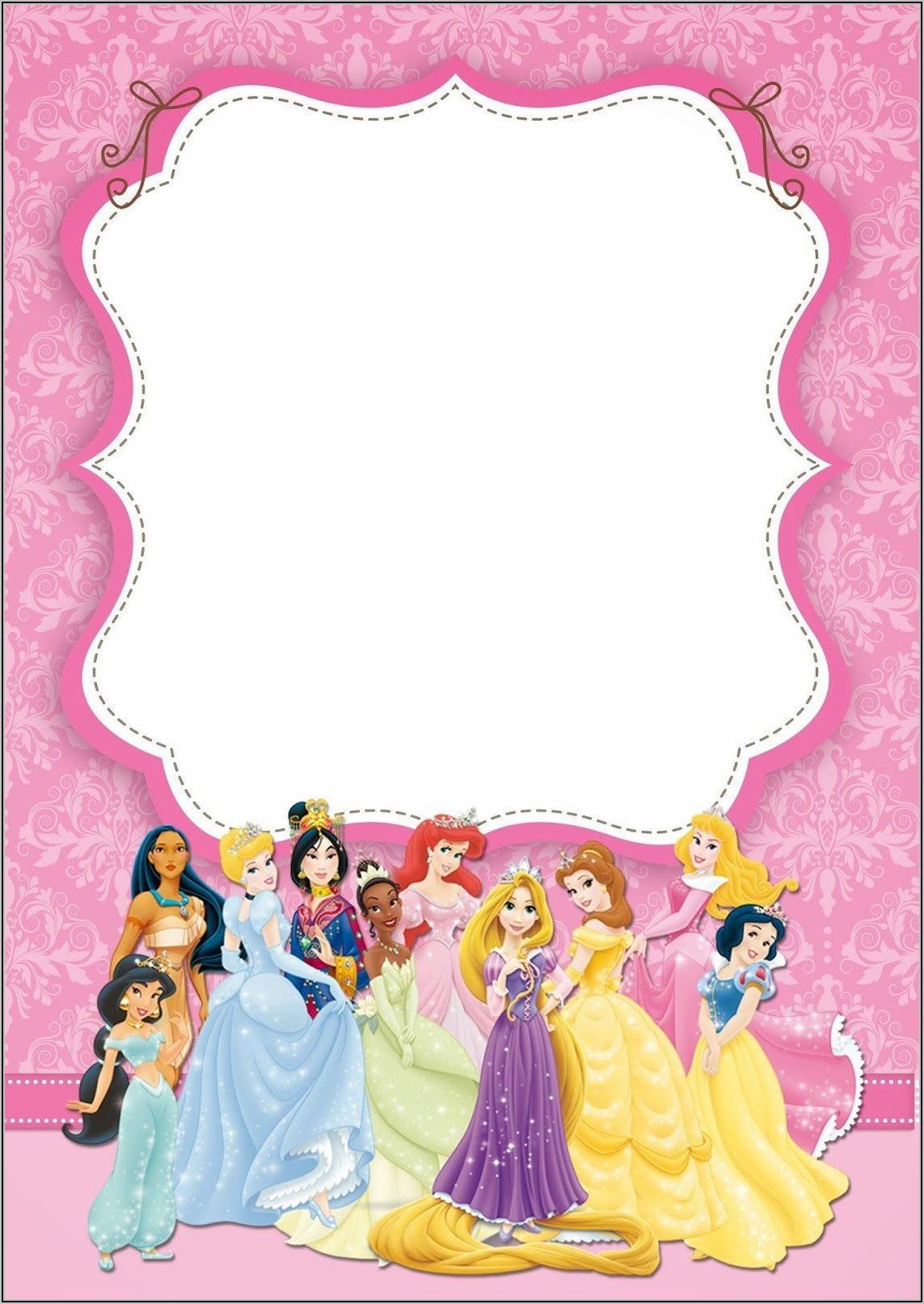 Disney Princess Party Invitation Template Free