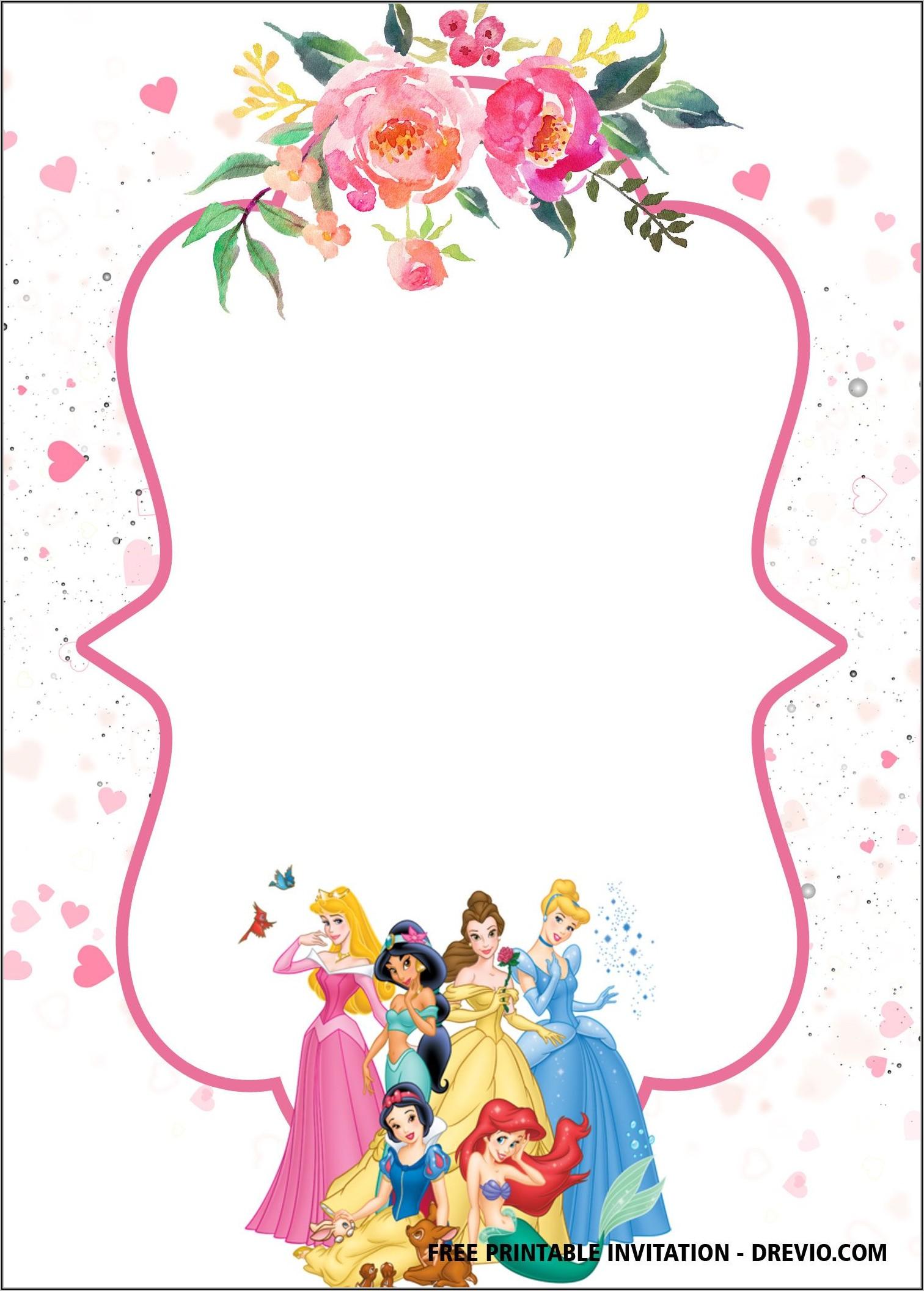 Disney Princess Party Invitation Template