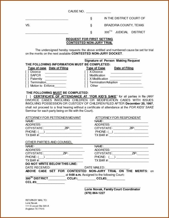 Divorce Decree Modification Forms Texas
