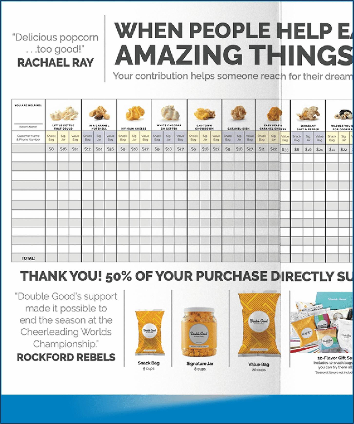 Double Good Popcorn Fundraiser Brochure