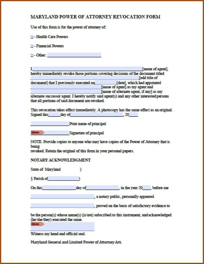 Durable Financial Power Of Attorney Form Maryland