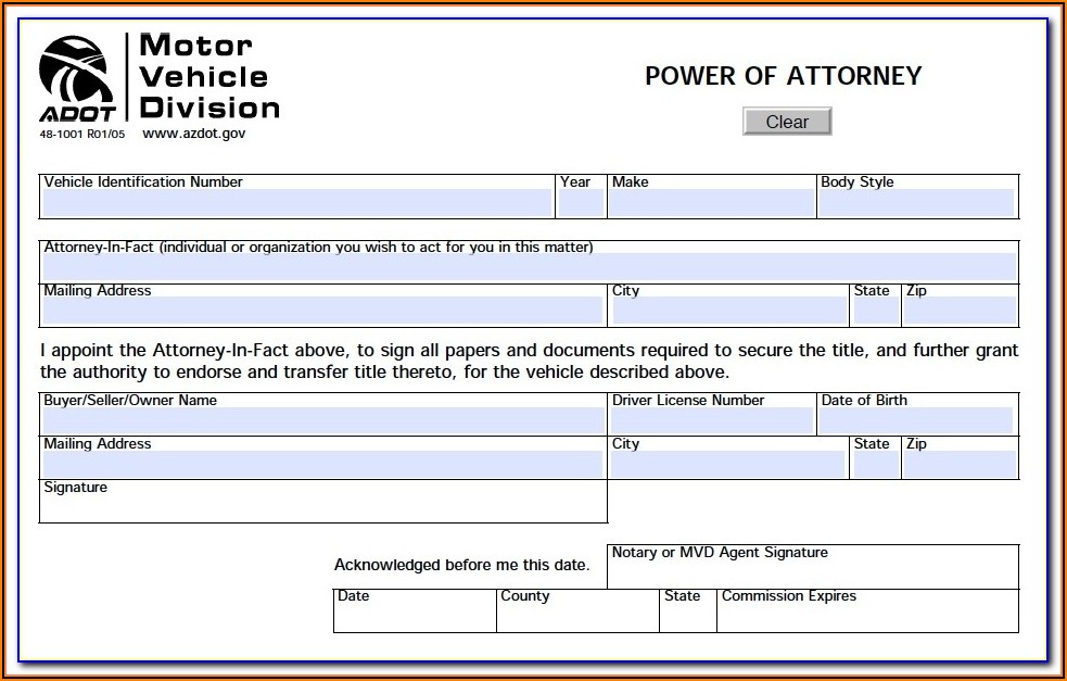 Durable Power Of Attorney Form Az