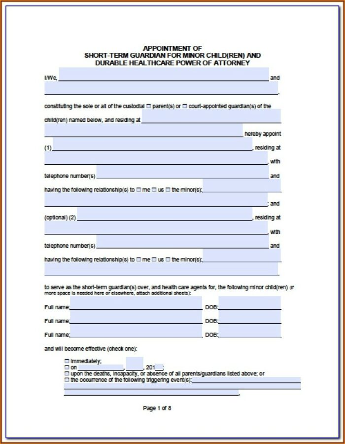 Durable Power Of Attorney Form California