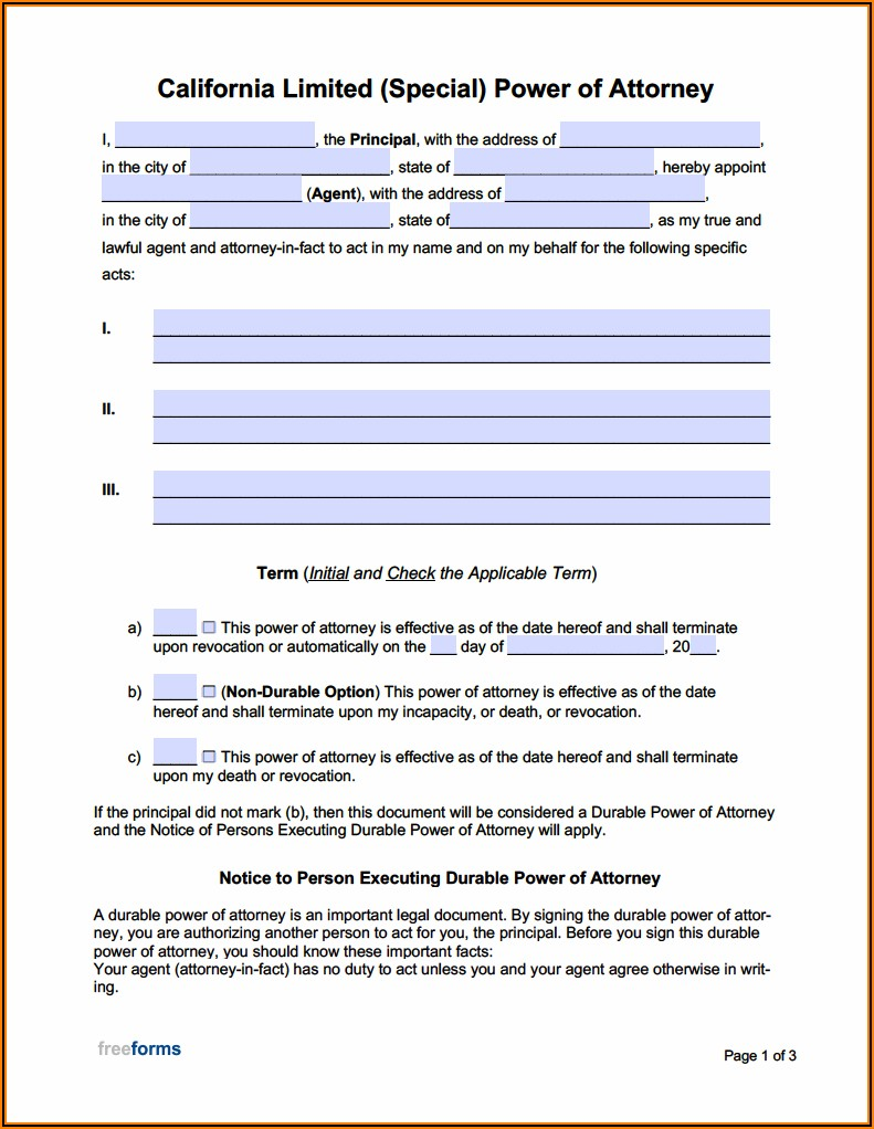 Durable Power Of Attorney Form California Pdf