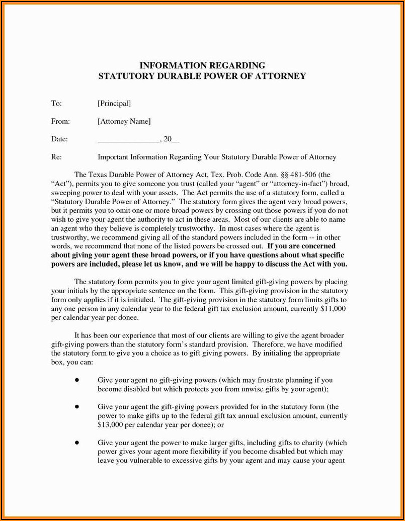 Durable Power Of Attorney Form Nc Free