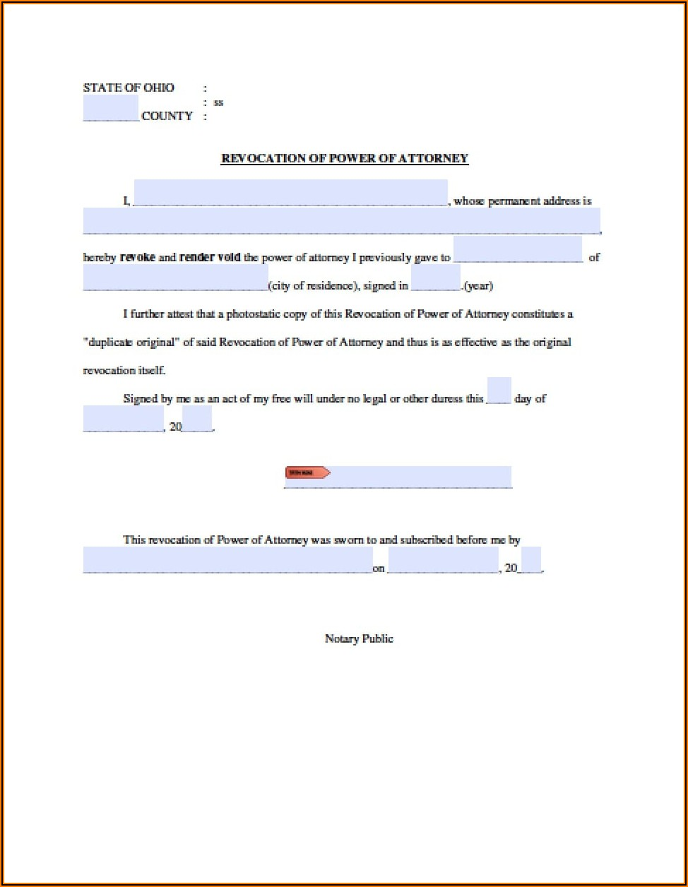 Durable Power Of Attorney Form Ohio