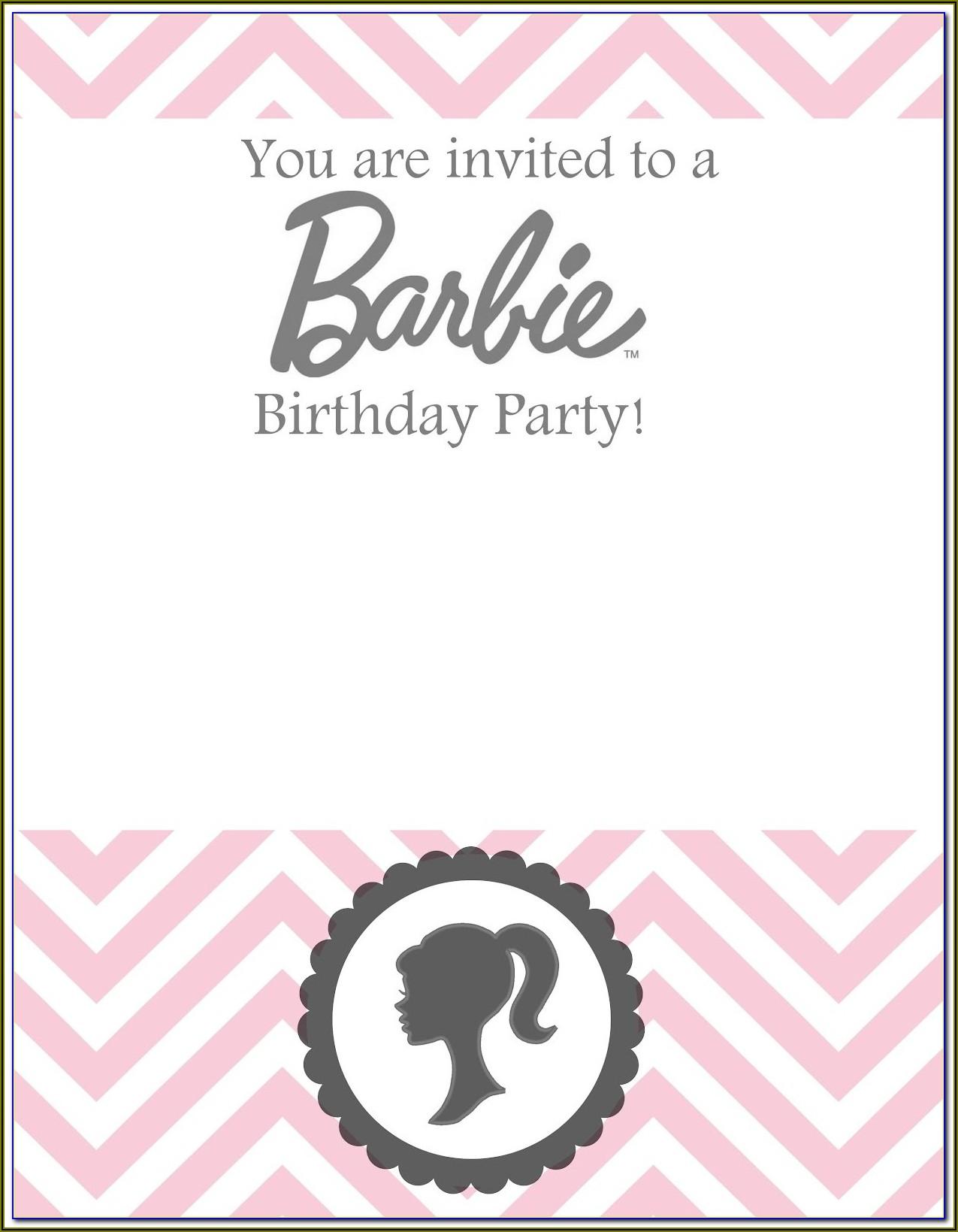Editable Barbie Birthday Invitations Templates Free