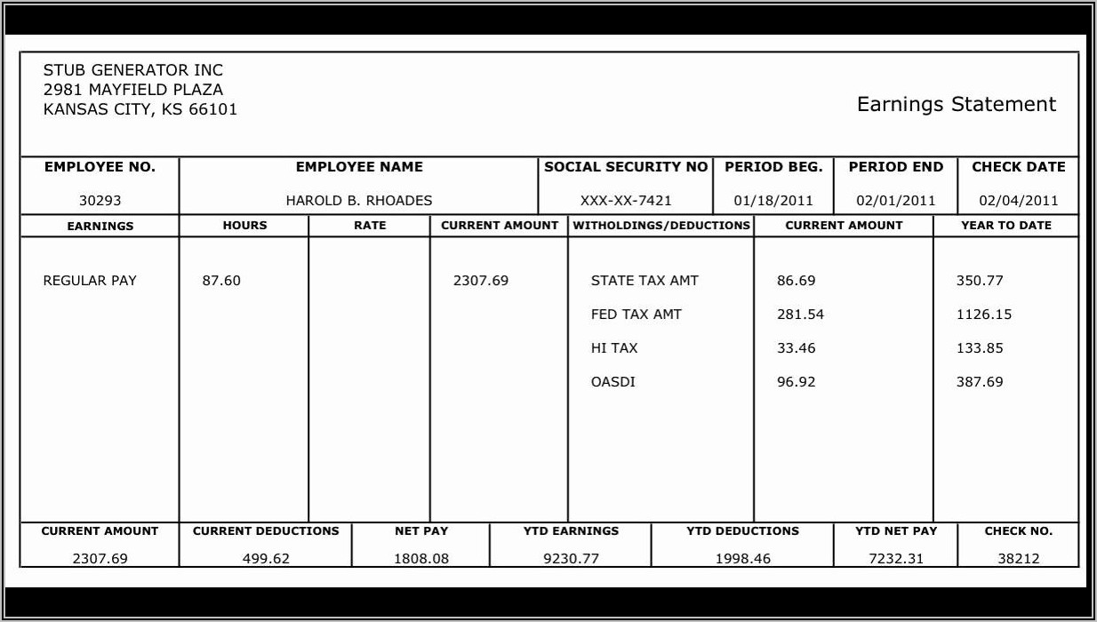 Employee Pay Statement Template
